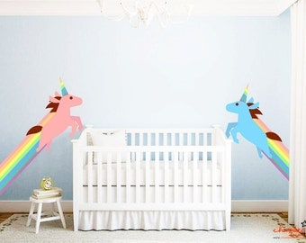 Cute Rainbow Unicorn Wall Decal