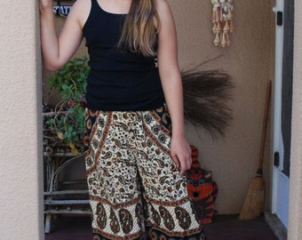 Hippie Kids pants-size 7-8 -Rust Green Circles -Shown on a 10 year old-Read Measurements