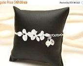 Bridesmaid Jewelry Set of 7 Silver Orchid with Initial Bridal Bracelets