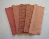 Rosey -Apricot - Soft Peach - Pink Hand Dyed Felted Wool in a Beautiful Collection Perfect Rug Hooking and Applique Wool