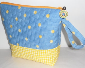 Quilted POLKA DOT N Check Cosmetic Bag with Zipper/Machine Quilted/Blue n Yellow Coloured Cosmetic Bag/Ditty Bag/Useful All Cotton Bag