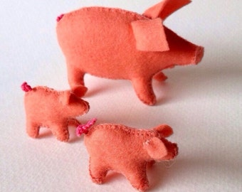 Felt Piggy Family, Pigs, Farm Animals, Waldorf Toys