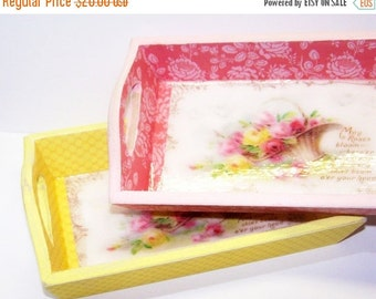 ON SALE Wooden Tray, Shabby Chic, Pink, Yellow, Roses, Little Girls, Tea Tray, Serving Tray, Tea Party, Gift for Her, Free Shipping, Cottage