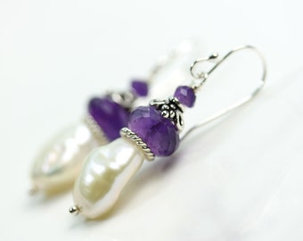 Baroque Keshi Pearl with Amethyst Sterling Silver earrings, February Birthstone, gift for her, under 50 dollars, pearl gemstone earrings