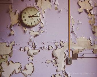 Abandoned Building Photography, 8x10, Purple, Urban Exploration, Detroit Art, Purple Decor, Peeling Paint, Detroit Photography, Purple Art