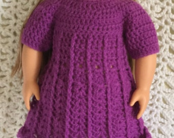 """American girl/18"""" doll dress boots and hat set purple"""