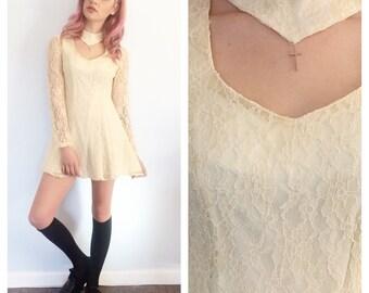 Vintage ivory lace cross chocker mini dress