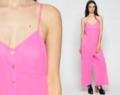 70s Jumpsuit Wide Leg Bell Bottom Pants Neon HOT PINK Deep V Neck Empire Waist 1970s Spaghetti Strap Summer Vintage Pantsuit Large xl