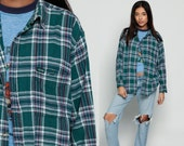 Green Plaid Shirt IZOD Grunge Flannel Shirt 80s Button Down Up White Red Vintage Oversize Lumberjack Cotton Long Sleeve Retro Extra Large xl