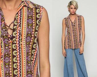 Hippie Blouse 70s Tank Top Bohemian Shirt 1970s Tribal Aztec Striped Boho Sleeveless CORSET Lace Up Retro Orange Purple Medium Large