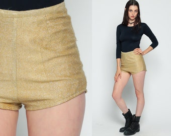 Gold Shorts 70s HOT PANTS Swim Shorts High Waisted Shorts Metallic 60s Mod Hotpants Tight Sparkly Vintage Hipster Retro 1970s Extra Small xs