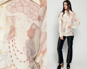 70s Novelty Blouse Floral Shirt LADY PRINT Top Disco Shirt Romantic 1970s Hippie Cream Button Up Vintage Hipster Long Sleeve Medium