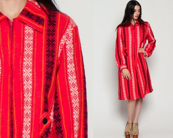 60s MOD Dress TRIBAL Aztec 70s Boho Peter Pan Collar Shift Midi Long Sleeve Woven Red Front Zip Vintage Bohemian Plus Size Extra Large xl