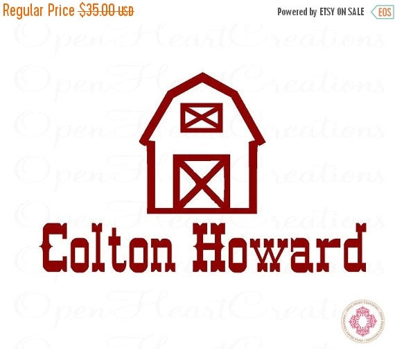 ON SALE Personalized Name with Barn Wall Decals - Farm Animals Barn Country Wall Decals 22H x 36W Fn0183