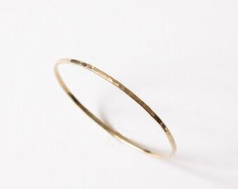 Aurum bangle - solid 14k yellow gold hammered organic texture bracelet