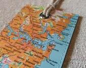 Sydney Australia luggage tag made with original vintage map