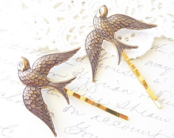 Golden Antique Brass Sparrow Hair Pin Set - Swallow Bobby Pin Set - Woodland Hair - Bridal - Nature - Flight - Bird - Wedding Hair Accessory