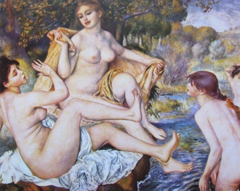 Auguste Renoir, The Bathers, Mature Content, 1884, 9 x 6.5 in. Reproduction Impressionist Print,Color Plate, 1970 Book Page