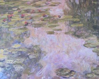 Claude Monet- Water Lilies, 1918, 13.75 x 7 in. Reproduction Impressionist Print, Color Plate, 1988 Book Print