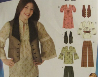 Simplicity 2879/Uncut Sewing Pattern/Girls Pants, Dress or Top and Vest/Hannah Montana/Size 8-16/Disney