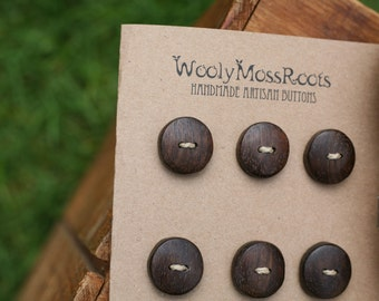 Black Walnut Wood Buttons- Handmade Wooden Buttons- Eco Knitting Supplies, Eco Craft Supplies