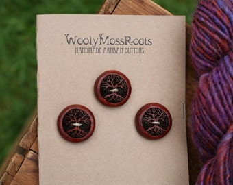 3 Red Tree Buttons- Wooden Buttons- Paduk Wood- Eco Craft Supplies, Eco Knitting Supplies, Eco Sewing Supplies