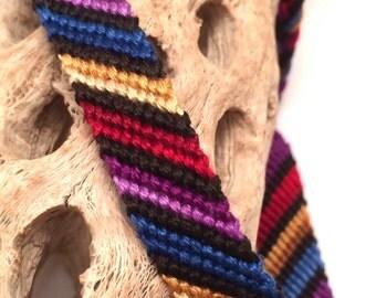 Friendship bracelet - striped - candy stripe pattern - red - blue - purple - braided - woven - macrame - handmade - knotted - string