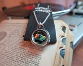 Dichroic glass & turquoise shards featured 2005 U.S. quarter hand hammered coin pendant necklace by Boo Science