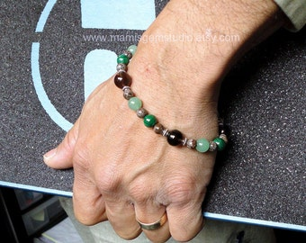 Mens Bead Bracelet, Green Aventurine, Malachite, Smoky Quartz, Brown Jasper Stone Bracelet for Men, Guys, Dad, Him, Handcrafted Jewelry