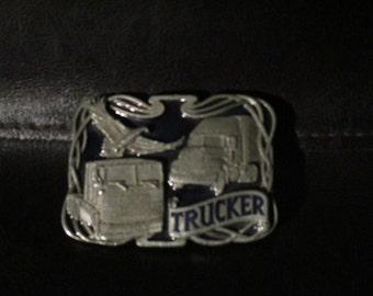 Vintage 3-D Belt Buckle - Trucker /Eagle - Masterpiece Brass Belt Buckle