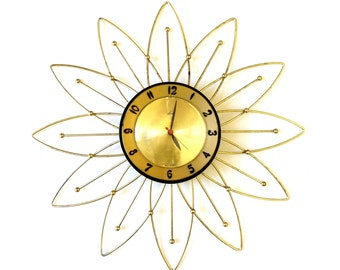 Vintage 1950s Lux Electric Wall Clock / Starburst Atomic Home Decor