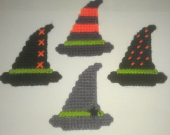 4 Handmade Witch Hat Magnets in Plastic Canvas