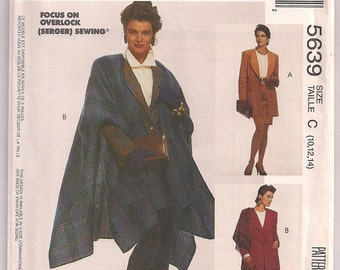 Jacket Pattern, Cape Pattern McCalls 5639, Semi Fitted Jacket, Shoulder Pads, Misses Outerwear, Fashion Cover Up, Fashion Accessory 10 12 14