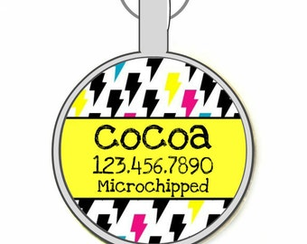 Lightning Bolts Personalized Dog ID Pet Tag Custom Pet Tag You Choose Tag Size & Colors