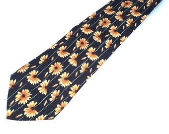 Vintage Silk SUNFLOWER Tie / 90s Roundtree and Yorke Necktie