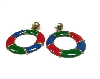 Vintage 90s BLUE RED GREEN Circle Dangle Earrings