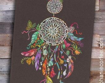 Dream Catcher PRINT - boho art, hippie art, feather art, flower child art, free spirit art, colorful art, nursery art, dream art, girl art