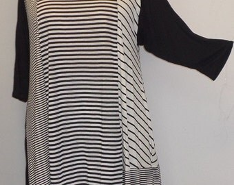 Plus Size Top, Asymmetric Tunic Top, Women Tunic, Coco and Juan, Multi Stripe #8 Knit Size 1 (fits 1X,2X)  Bust 50 inches