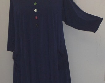 Coco and Juan,  Lagenlook,  Plus Size Top, Navy Blue Traveler Knit Trapeze Tunic,  Size 1 (fits 1X/2X)  Bust 50 inches