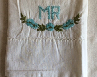"""Vintage """"Mr"""" pillowcase / hand embroidered / 100% cotton pillowcase / mr. And mrs."""