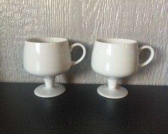 Vintage Ultra Modern White Mugs Will You Have Coffee or Tea?