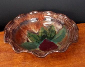 Deep Dish Stoneware Pie, Quiche Pan ~ Apple Leaf Design ~