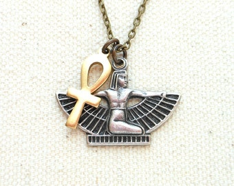 Egyptian isis and ankh necklace goddess necklace egytptian jewelry eternal life heiroglyphic necklace pagan jewelry occult jewelry