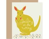 Pregnancy Card, Baby on the Way, Kangaroo Card, Expecting Card, Baby Shower Card, Baby Greeting Card, Congratulations Card, Adoption Card