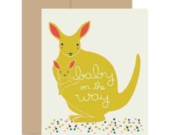 Pregnancy Card, Baby on the Way, Kangaroo Card, Expecting Card, Baby Shower Card, Baby Greeting Card, Congratulations Card, Adoption Card