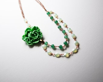 Jade and flower multistrand bib necklace