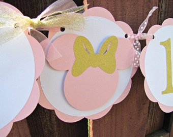 Minnie Mouse Party Banner, Minnie Mouse 1st Birthday Banner, Pink and Gold, Minnie Mouse Baby Shower, Minnie Birthday Party, Minnie Banner