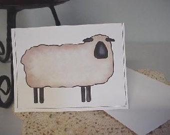 Primitive Black Face Sheep Note Cards ~ N51