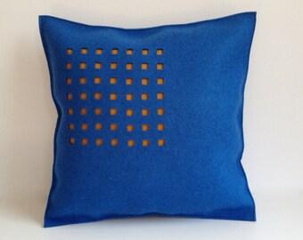 Felt Pillow in blue Felt, Brown Felt Pillow, Contemporary Felt Pillow, 100 Percent Wool Felt Pillow -- Free US Shipping