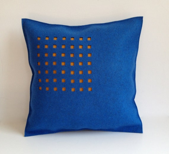 Modern Felt Pillows : Items similar to Felt Pillow in blue Felt, Brown Felt Pillow, Contemporary Felt Pillow, 100 ...